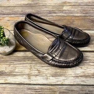 SAS Pewter Metallic Tripad Leather Loafers
